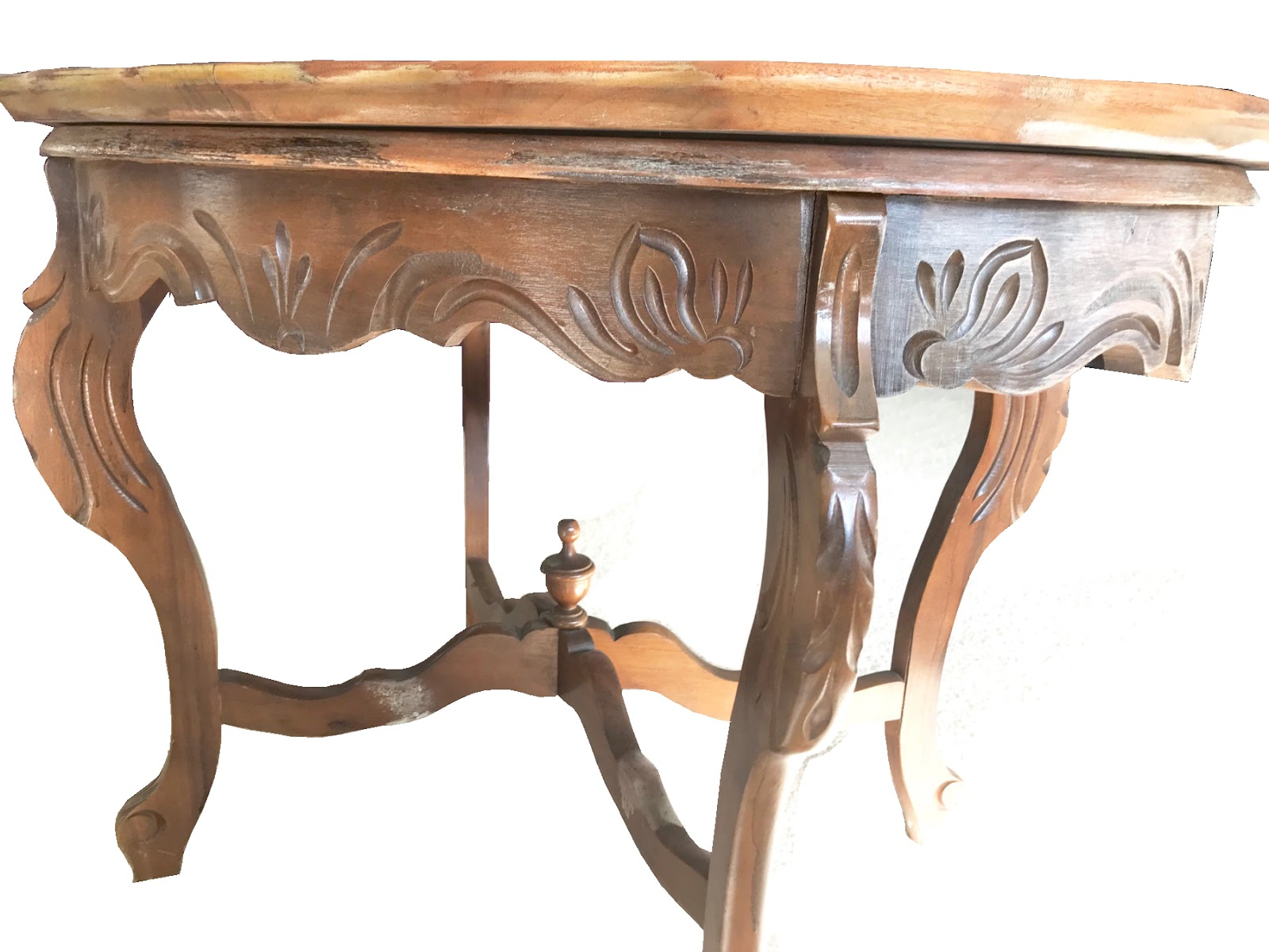 Hand Carved Glass Top Table