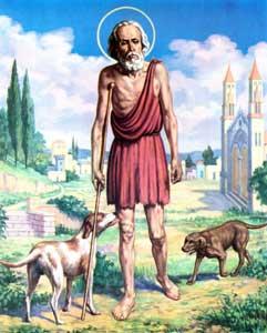 Imagen de San Lázaro caminando con 2 perros