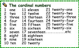 les nombres cardinaux en anglais pdf