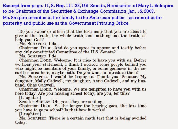 Excerpts from Mary L. Schapiro's Senate Confirmation Hearing on Jan. 15, 2009