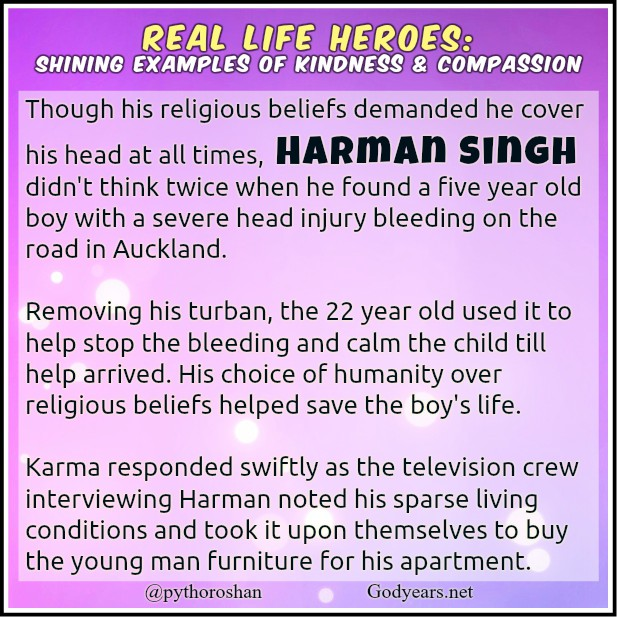 Harman Singh chose humanity over religion, removing his turban and using it to stop the bleeding after finding a small child bleeding on the road after an accident