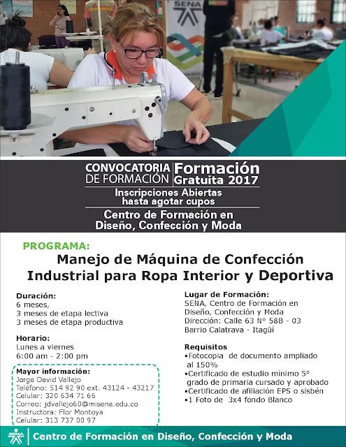 e68a4ac3cd Formación gratuita en Manejo de Máquinas de Confección Industrial   Disponibilidad en 22 talleres Satélites ubicados en todo el Valle del Aburrá