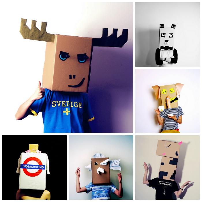 máscaras de cartón de animales, elefantes, jirafas, pollitos
