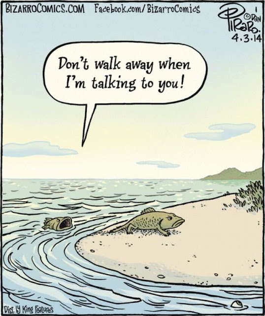 Don't walk away when I'm talking to you! | Funny evolution started cartoon | Bizarro Comic Genius