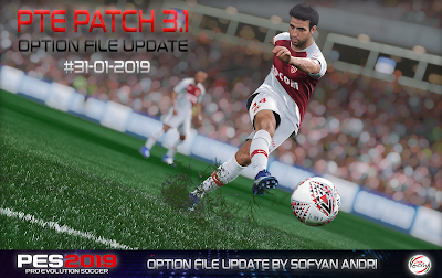 PES 2019 PTE Patch 2019 3.1 Option File 31-01-2019 by Sofyan Andri