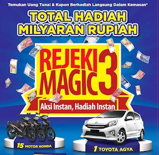 Promo Undian HIT - Magic Rejeki Magic3 Berhadiah mobil Toyota Agya dan 15 Honda Revo.