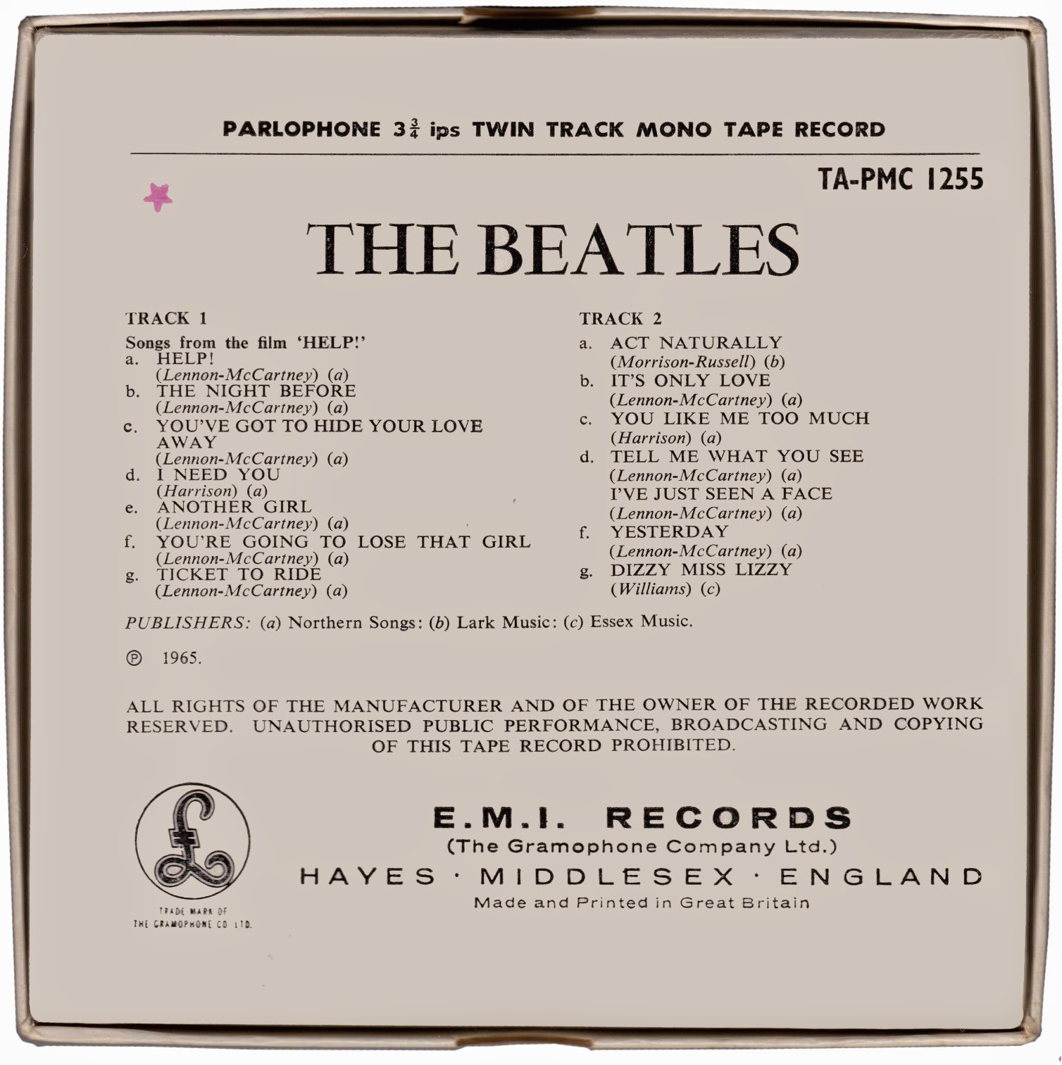the daily beatle 2015 cardboard box back