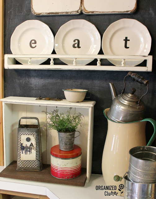 Upcycled Garage Sale Shelf & Thrift Shop Plates organizedclutter.net