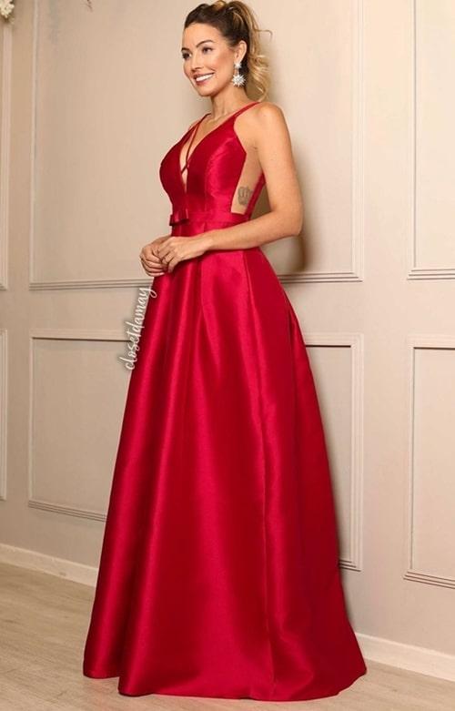 vestido de festa longo vermelho modelo princesa
