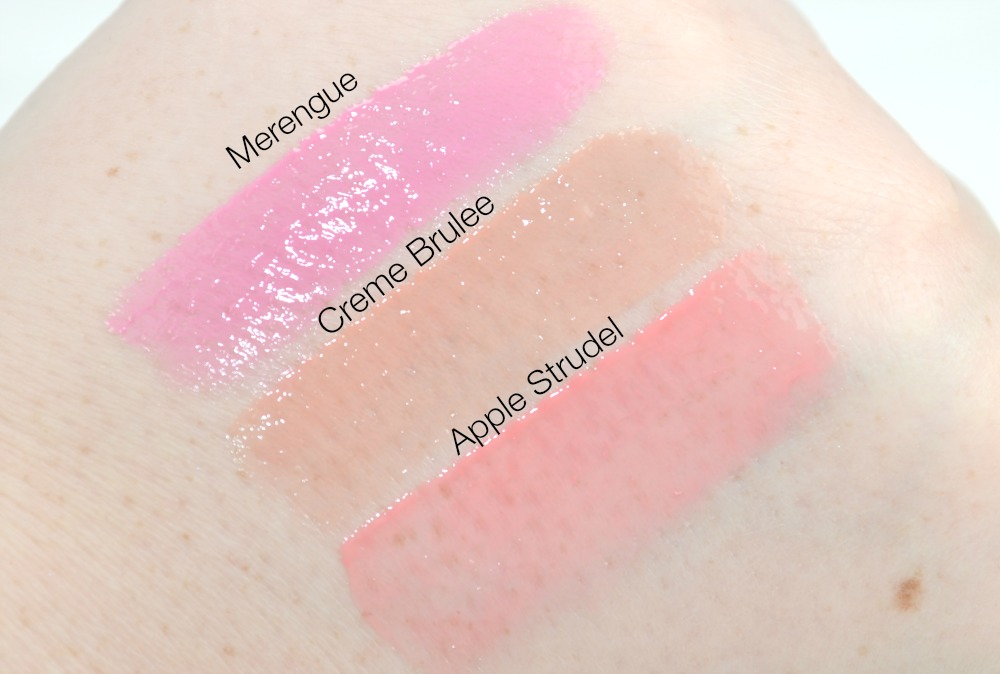 SWATCHES of the Merengue, Crème Brûlée and Apple Strudel Butter Glosses