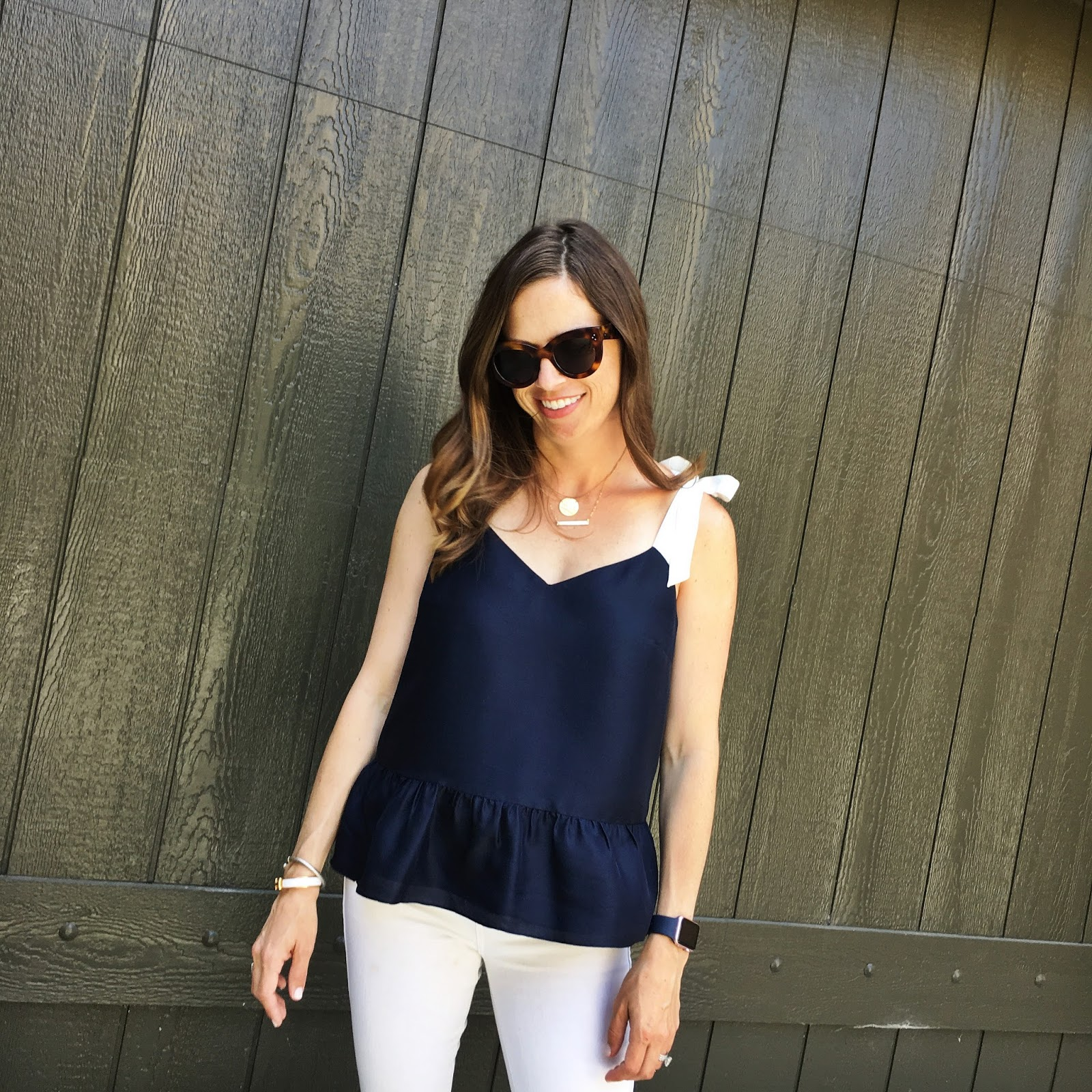 navy peplum top outfit