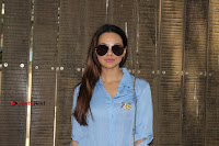 Actress Sana Khan Pos in Denim Jeans Dubbing at Her Upcoming Movie Toilet Ek Prem Katha .COM 0010.jpg
