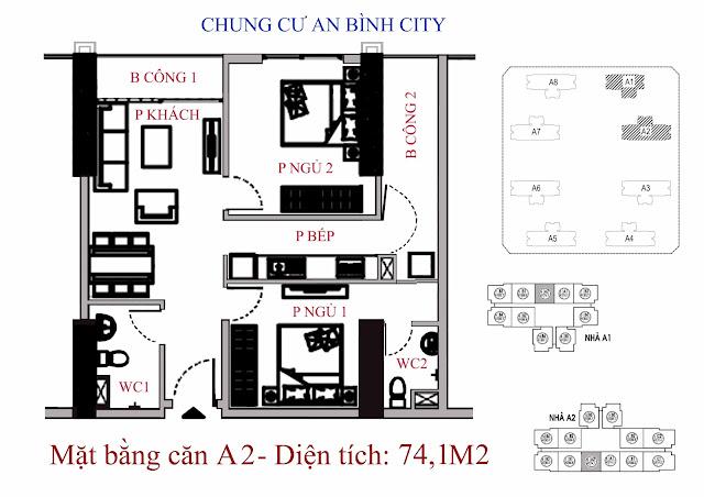 căn hộ A2 diện tích 74,1m2