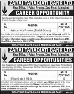 Zarai Taraqiati Bank Limited ZTBL Jobs