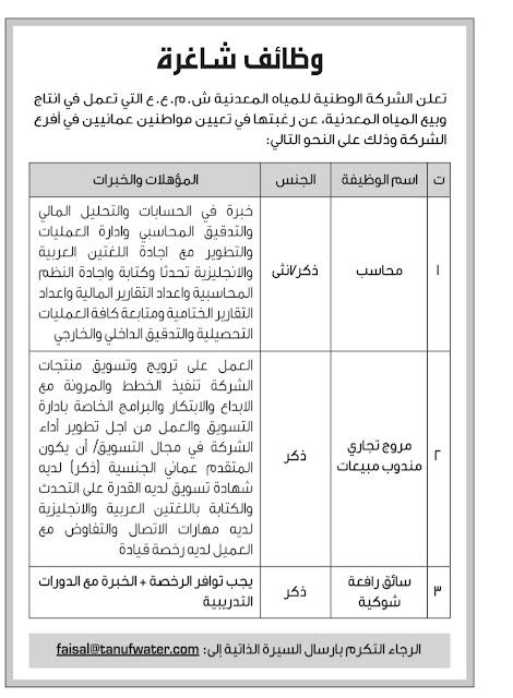 وظائف شاغرة في الشركة الوطنية للمياه المعدنية الاحد 4 فبراير 2019