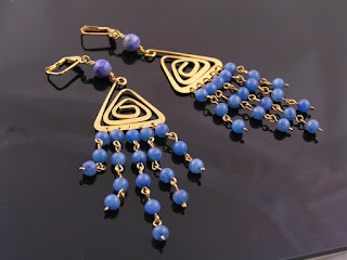 Blue Aventurine and Gold Chandelier Earrings