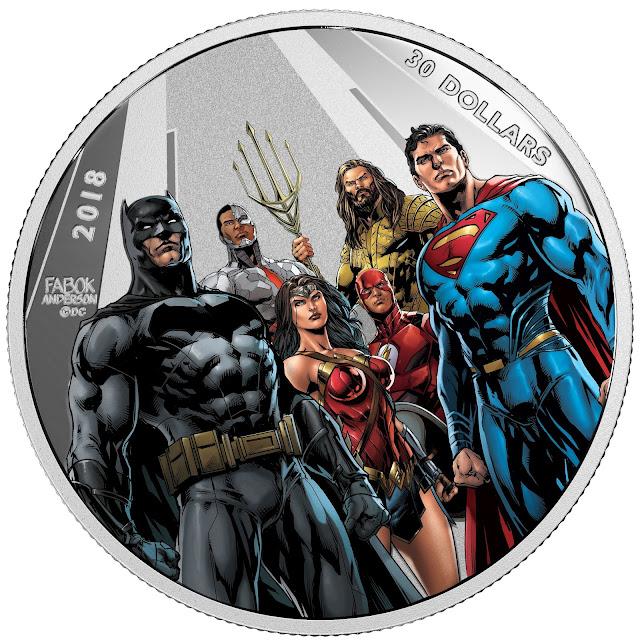 2018 $30 Fine Silver Coin - The Justice League - The World's Greatest Super Heroes