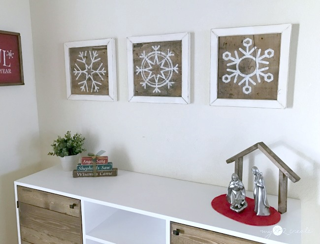 Snowflake Decorative Scrap wood Signs, MyLove2Create