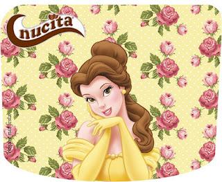 Etiqueta Nucita de La Bella y la Bestia con Rosas para imprimir gratis.
