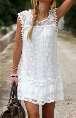 Simple scoop white dress