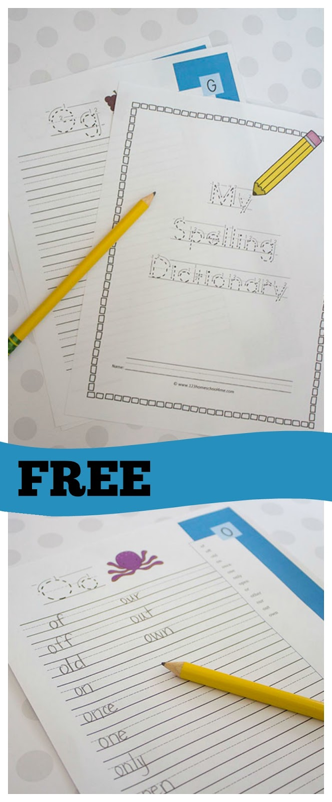 FREE My Spelling Dictionary with Ruled Lines