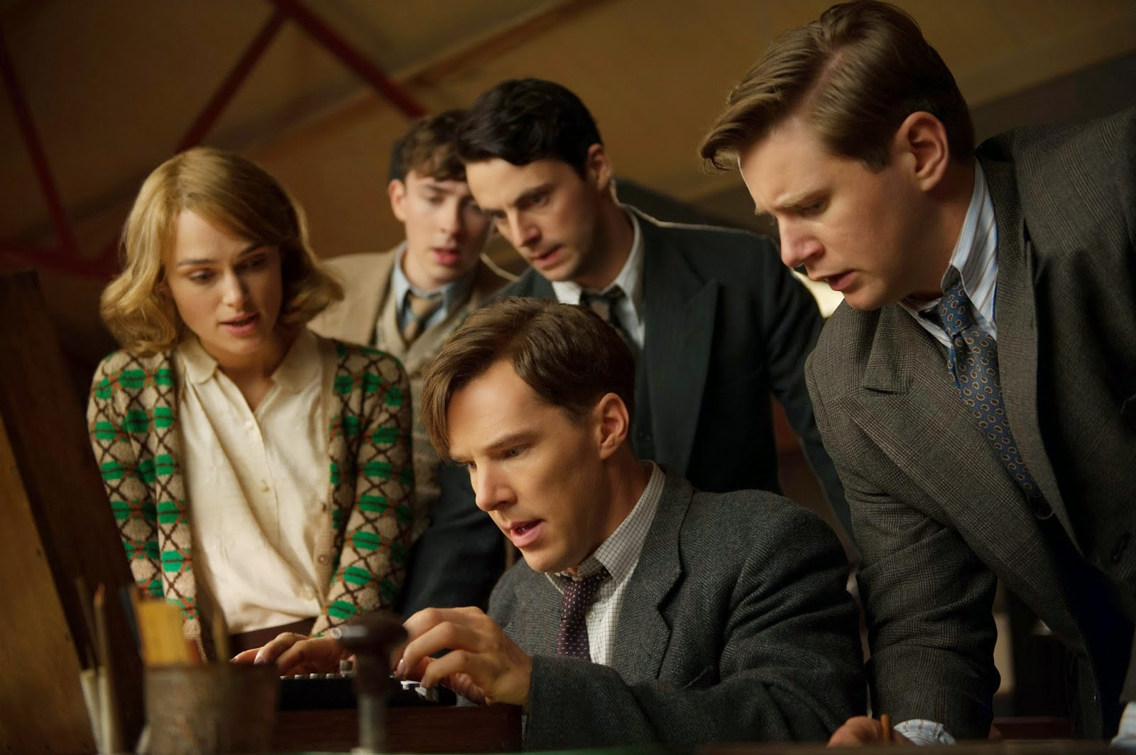Cast van The Imitation Game op een rij: Keira Knightley, Matthew Goode & Benedict Cumberbatch