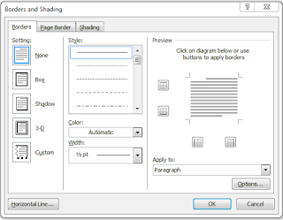 Border and Shading dialog box