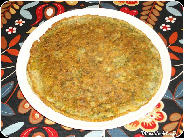 Tortilla de champiñones y espárragos