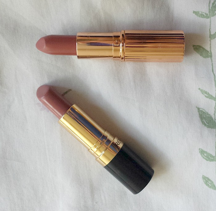 charlotte tilbury kissing lipstick in stoned rose, revlon super lustrous lipstick in rose velvet review swatches dupe