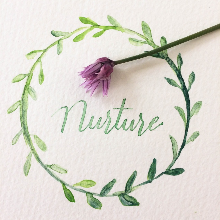 DIY calligraphy with watercolor wreath, nurture