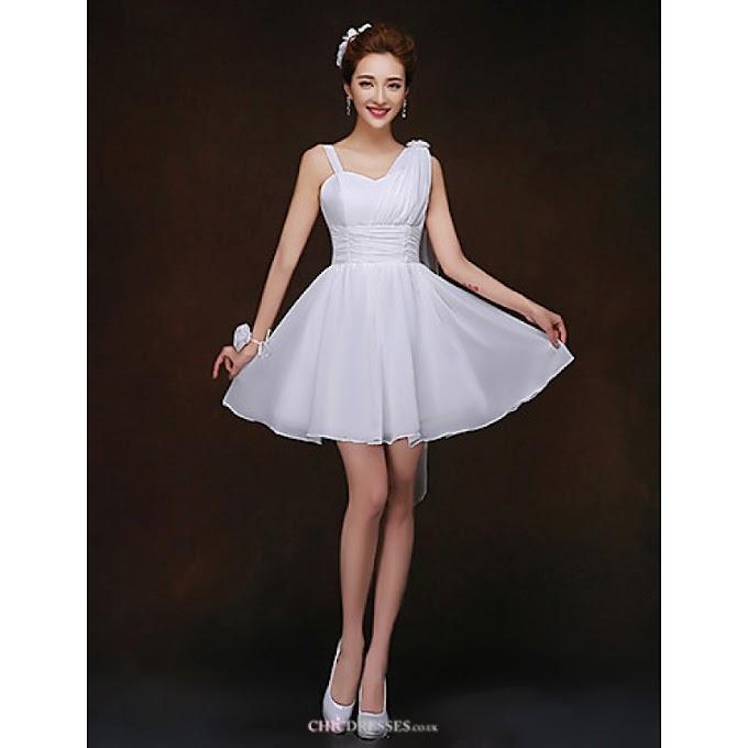 Short/Mini Bridesmaid Dress - White Sheath/Column Spaghetti Straps