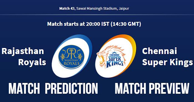 IPL 2018 Match 43 RR vs CSK Match Prediction, Preview and Head to Head, Who Will Win