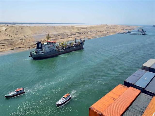 قناه السويس تشهد عبور 445 سفينة بحمولة 28 مليون طن في 9 ايام