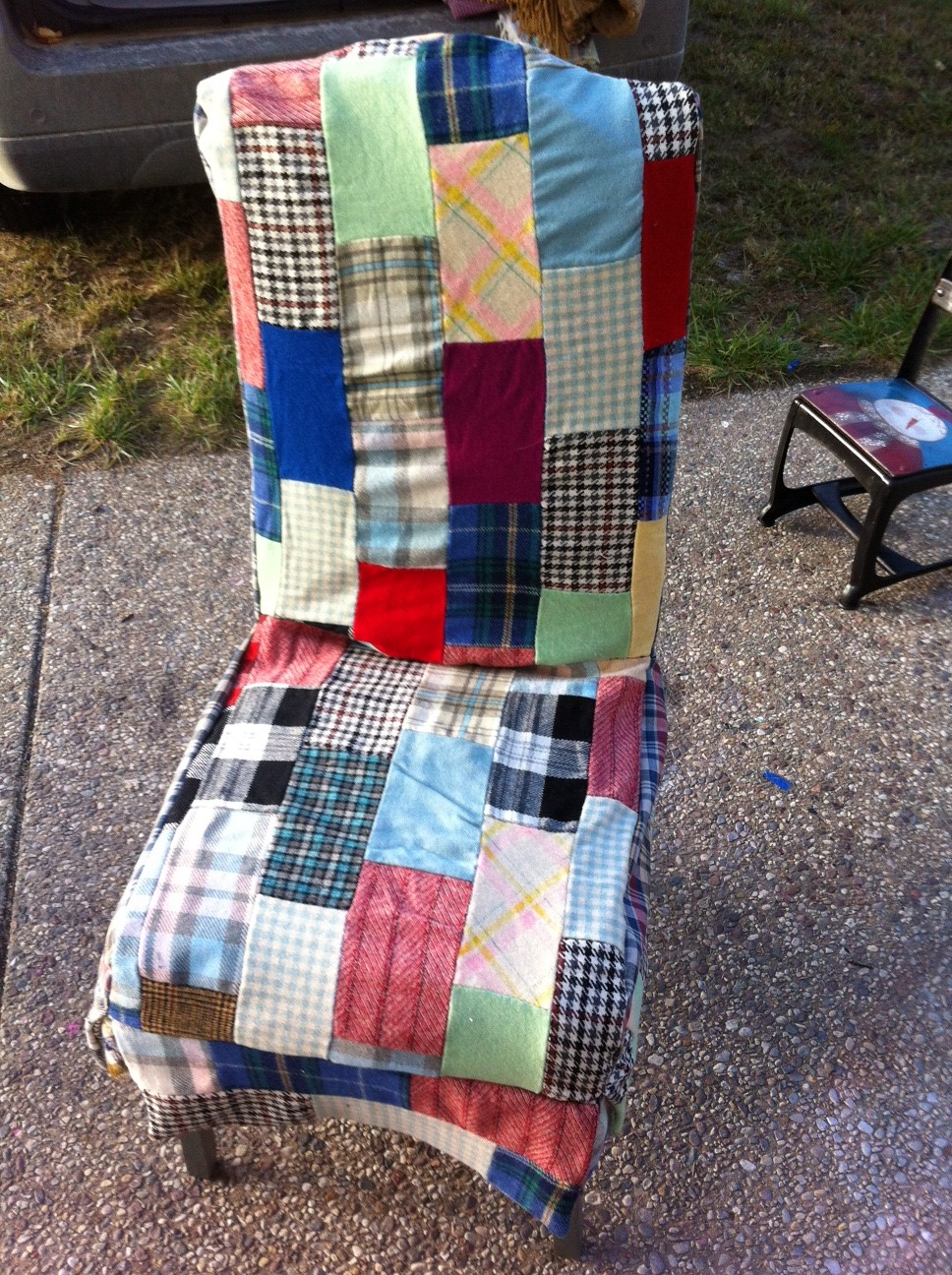 chair cover quilting covers perth catnap patchwork rescue i found a vintage wool quilt that was sitting in my sewing room and decided it would be cool to make new from