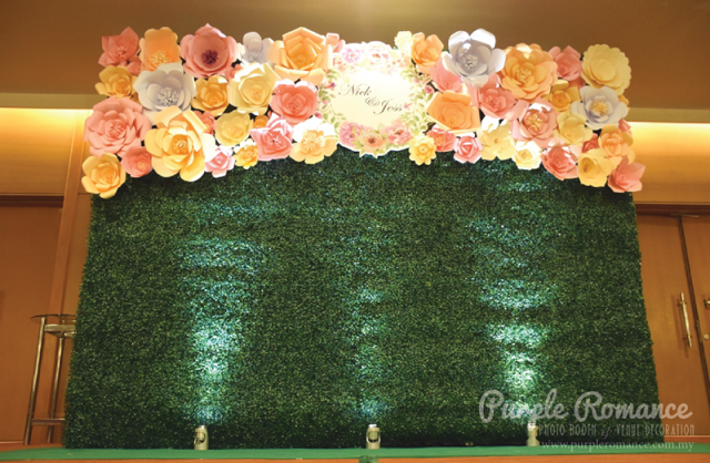 photo booth backdrop, custom made design, giant paper flowers, pastel colours, green grass, solid structure, spotlights, events, corporate, weddings, party, instant print services, logo, floral, flowers, peach, ivory, beige cream, pink, white, pullman kuala lumpur city centre kl, hotel, opposite pavillion mall, dessert bar, candy bar, reception table setup decor, welcome board, stand, photo table, love corner, purple romance, malaysia, bentong, pahang, seremban, nilai, melaka, perak, ipoh, genting highlands, puncak dani, batang kali, elegant, decoration, venue, vendor