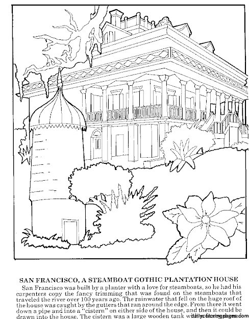Difficult Coloring Pages For Adults  Louisiana Plantations Difficult  Coloring Pages