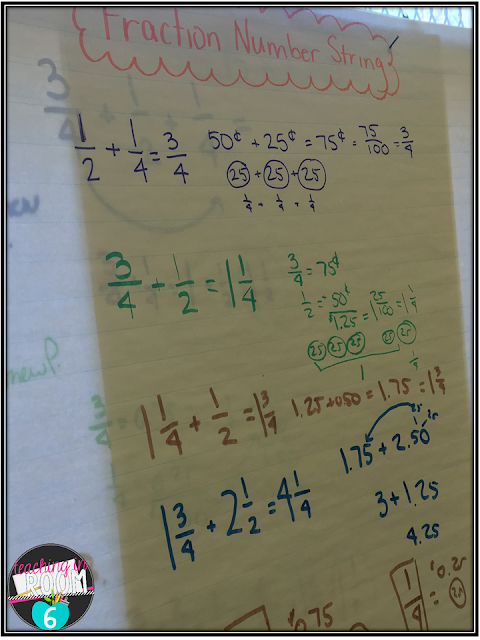 Using number strings to get the fifth graders to add unlike denominators in their head.