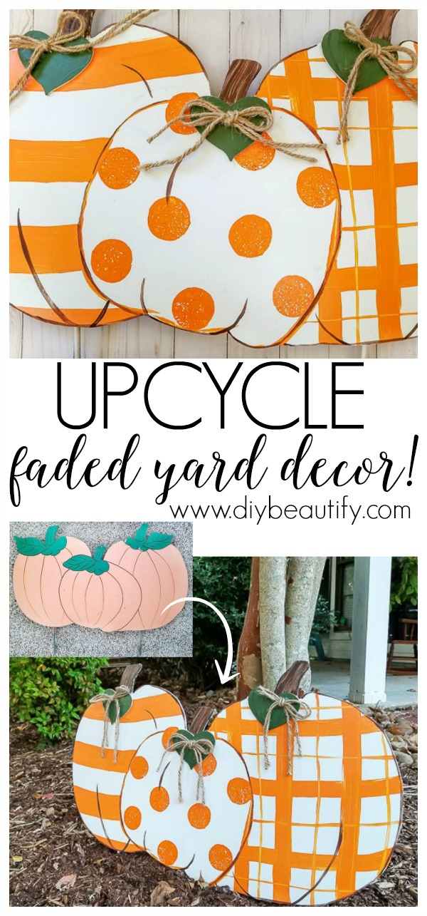upcycle old and faded seasonal yard decor