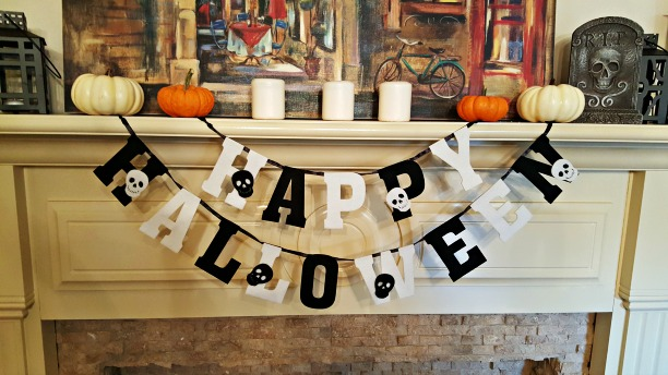 halloween banner on fire place