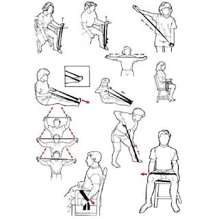 Différents exercices physiques à faire avec un élastique de résistance
