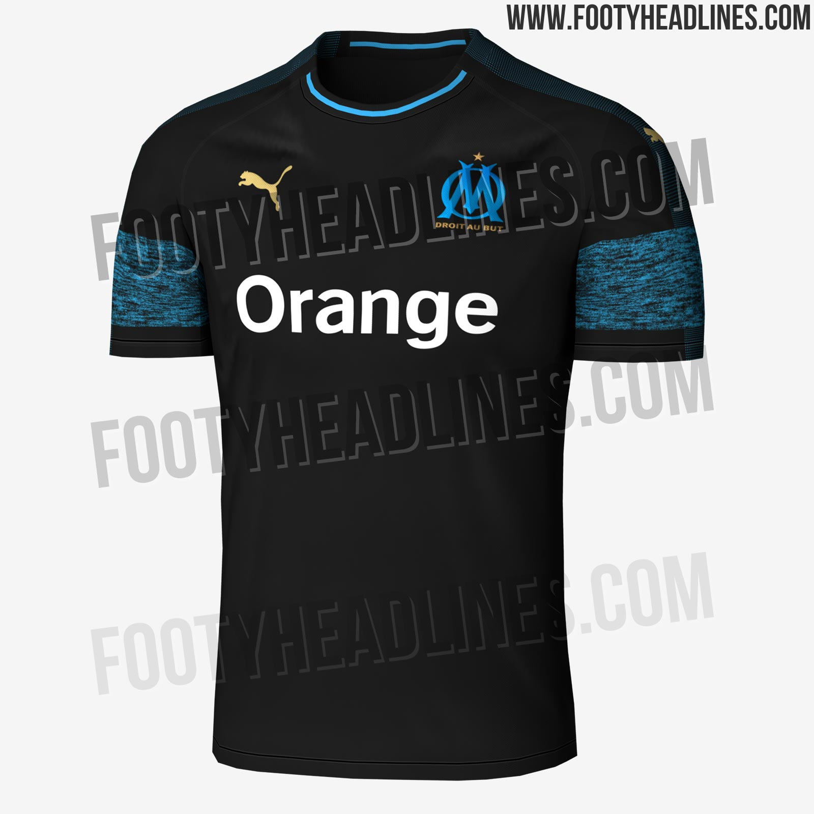 68c9b027980 Based on the same template as the new Arsenal away shirt, the Olympique  Marseille 18-19 Puma away kit is predominantly black with a melange stripe  around ...