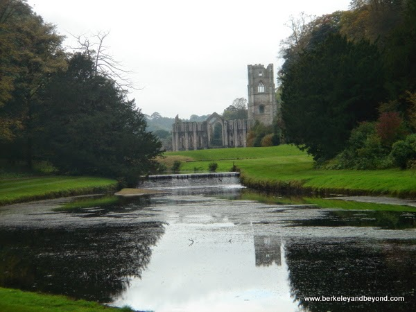 View of Fountains Abbey from Water Garden in Ripon, North Yorkshire, England