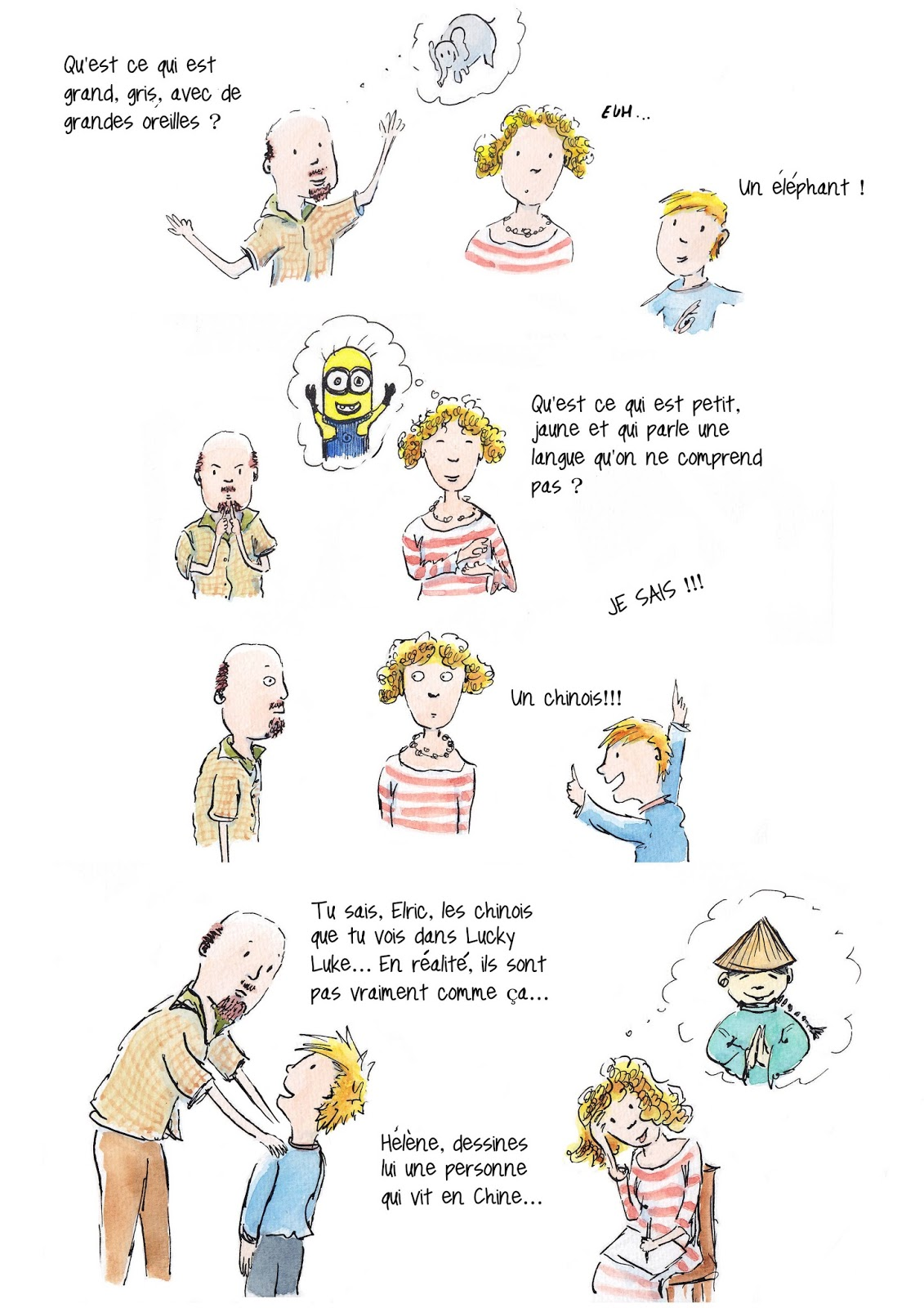 illustration jeunesse famille family joke blague