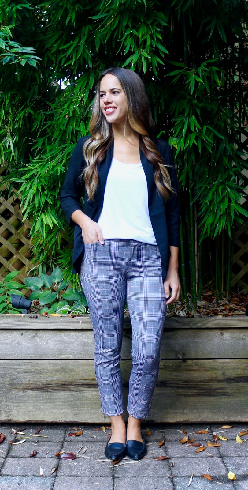 Jules in Flats - Plaid Ankle Pants (Business Casual Fall Workwear on a Budget)