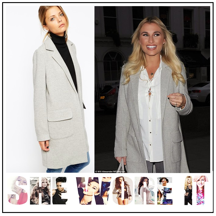 TOWIE, Billie Faiers, ASOS, Light Grey, Woven Wool Blend, Coat, Slim Fit, Open Front Design, Pocket Detail, The Only Way Is Essex, Celebrity Fashion,