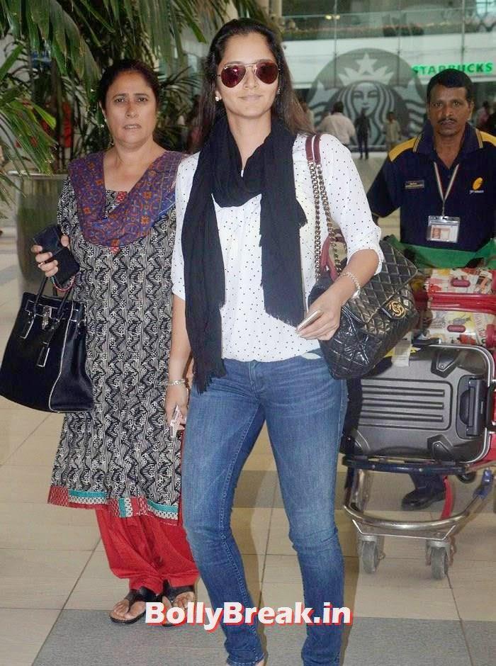 , Sania Mirza Nude Makeup Pics from Airport