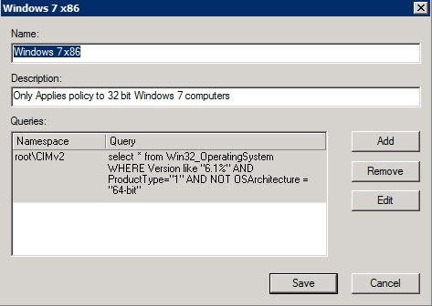 Use Group Policy to target computers using WMI filters