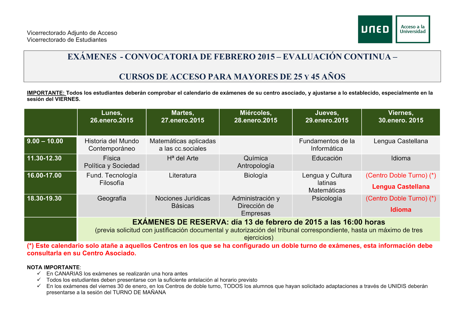 Uned Calendario Examenes.Uned Aula De Coria Caceres 2014