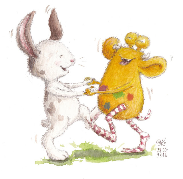 Osterhase, Loni der Pumpf, Kinderbuchillustration, Kinderbuch, Familie, Glück, Liebe, Monster