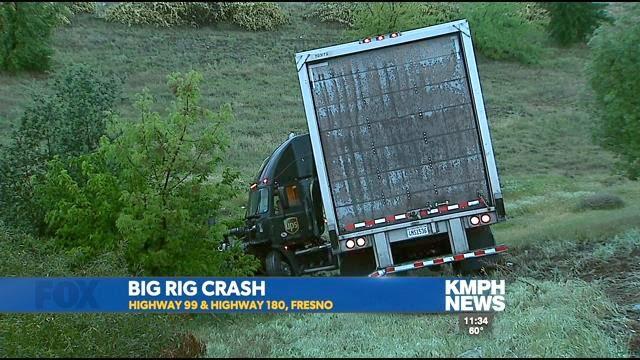 Fresno semi truck crash highway 99 180 UPS